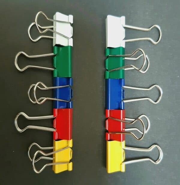 10 foldback papierklemmen normaal geel rood blauw groen wit