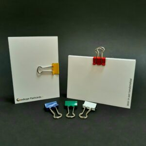 foldback papierklem klein assorti op flashcards blauw groen wit geel rood
