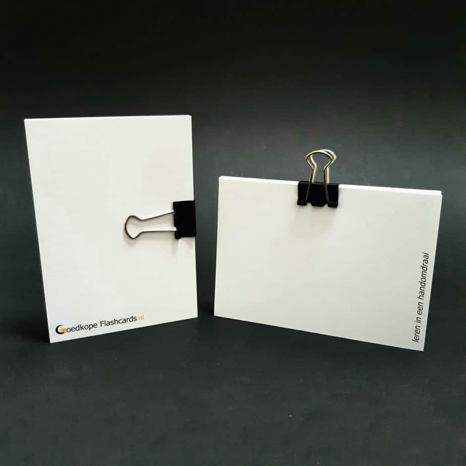 foldback papierklem klein op flashcards zwart