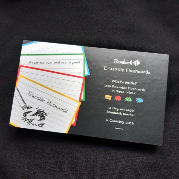 Bambook uitwisbare flashcards verpakking, geel rood groen blauw met lijntjes